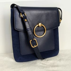 Tory Burch Navy Leather Suede Shoulder Bag NWT